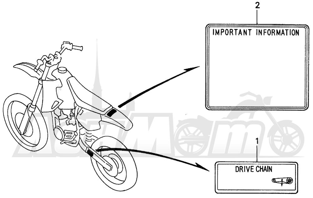 Запчасти для Мотоцикла Honda 1996 CR80R Раздел: CAUTION LABEL | предупреждение этикетка, метка