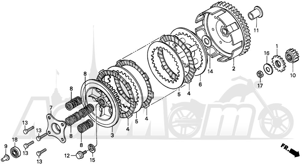 Запчасти для Мотоцикла Honda 1996 CR80R Раздел: CLUTCH | сцепление