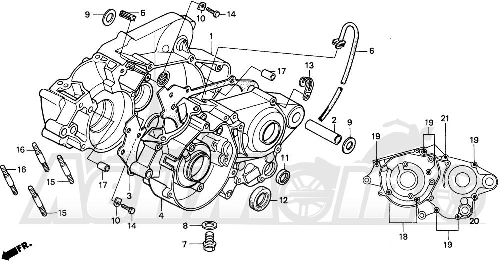Запчасти для Мотоцикла Honda 1996 CR80R Раздел: CRANKCASE | картер