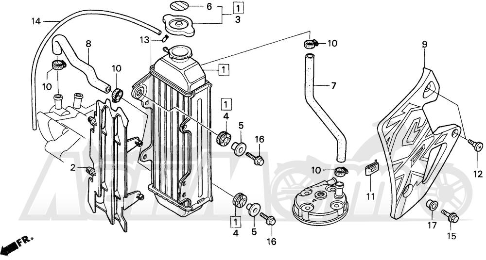 Запчасти для Мотоцикла Honda 1996 CR80R Раздел: RADIATOR | радиатор