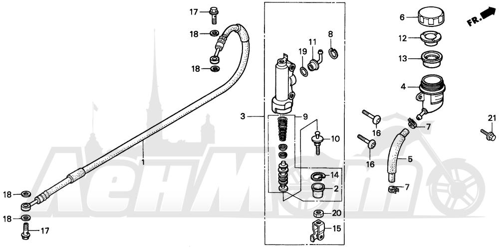 Запчасти для Мотоцикла Honda 1996 CR80R Раздел: REAR BRAKE MASTER CYLINDER | задний тормоз главный цилиндр