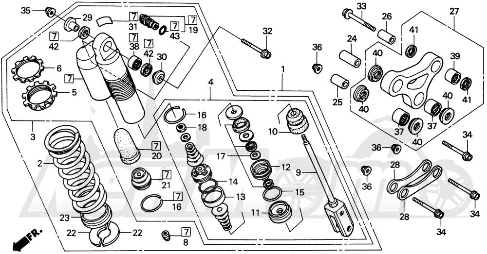 Запчасти для Мотоцикла Honda 1996 CR80R Раздел: REAR SHOCK ABSORBER | зад амортизатор