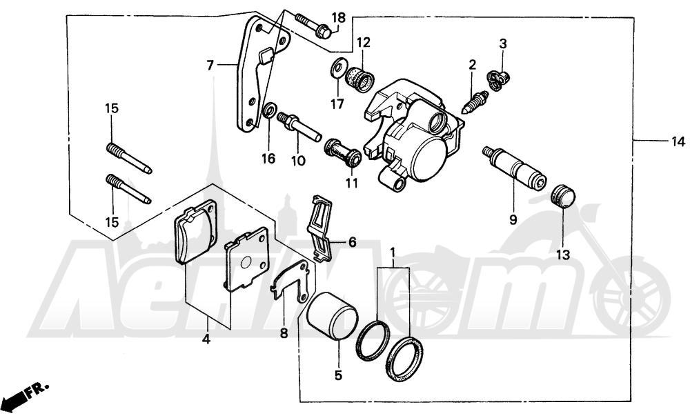 Запчасти для Мотоцикла Honda 1996 CR80R Раздел: FRONT BRAKE CALIPER | передний тормоз суппорт