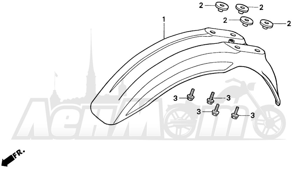 Запчасти для Мотоцикла Honda 1996 CR80R Раздел: FRONT FENDER   переднее крыло
