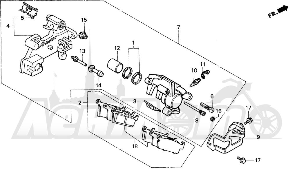 Запчасти для Мотоцикла Honda 1996 CR80R Раздел: RR. BRAKE CALIPER | зад. тормозной суппорт