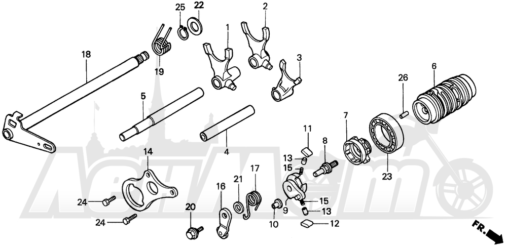 Запчасти для Мотоцикла Honda 1996 CR80R Раздел: GEARSHIFT DRUM | переключение передач барабан