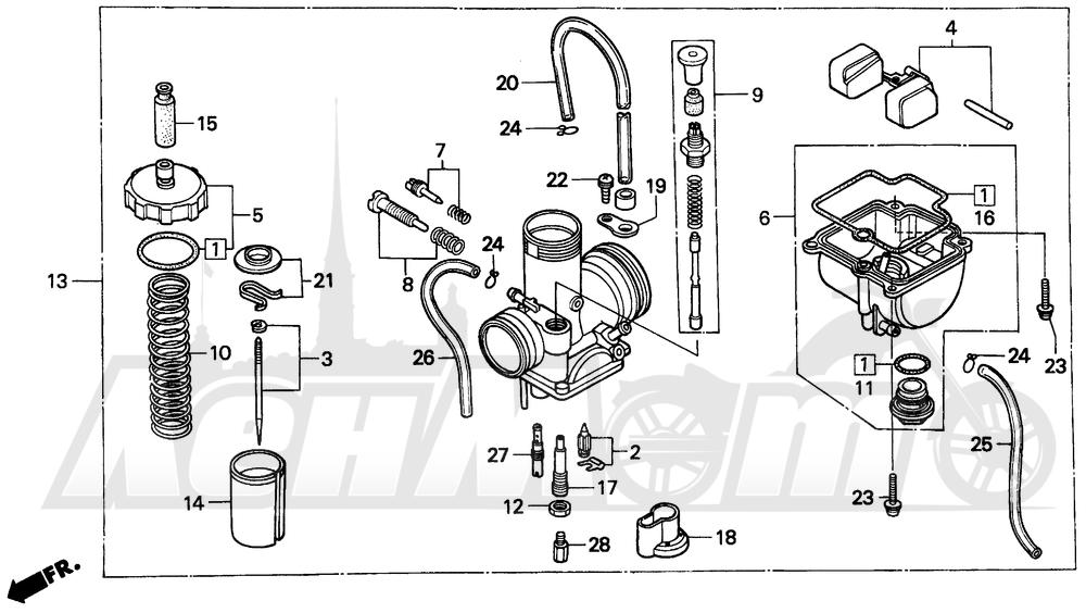 Запчасти для Мотоцикла Honda 1996 CR80RB Раздел: CARBURETOR | карбюратор