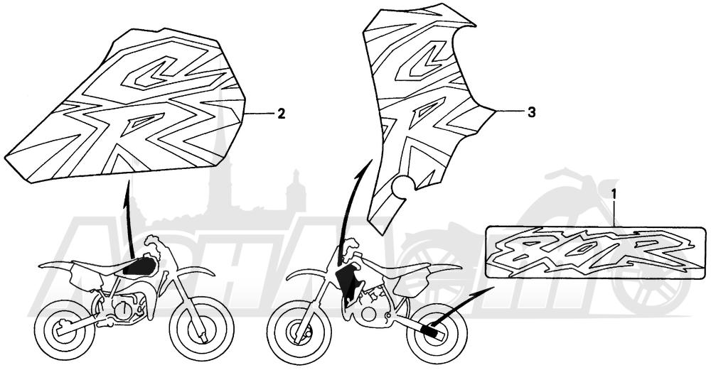 Запчасти для Мотоцикла Honda 1996 CR80RB Раздел: MARK 96 | знак 96