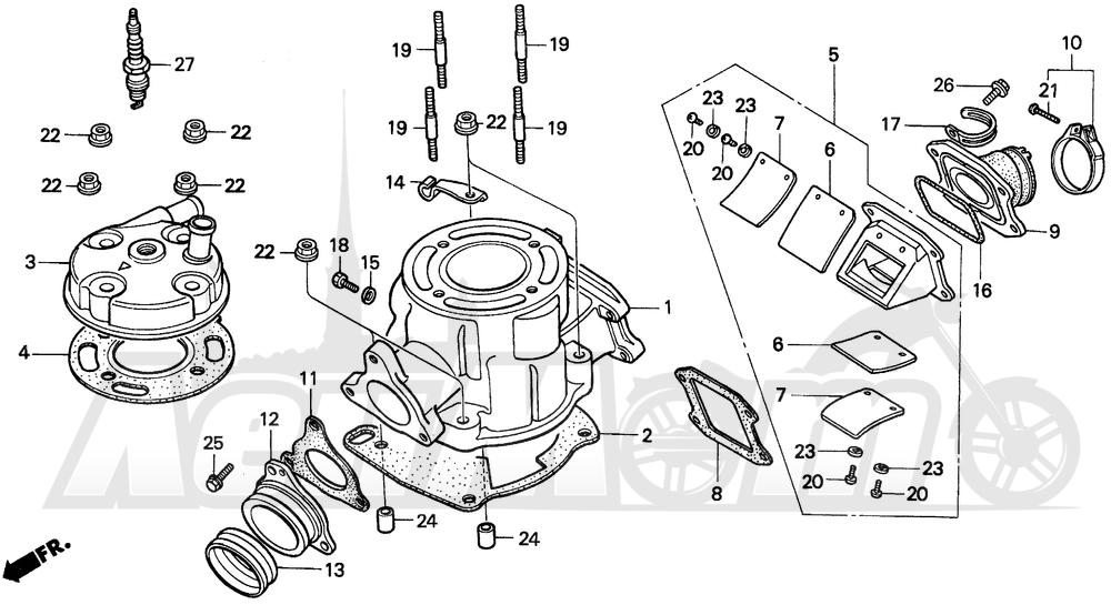 Запчасти для Мотоцикла Honda 1996 CR80RB Раздел: CYLINDER HEAD   головка цилиндра