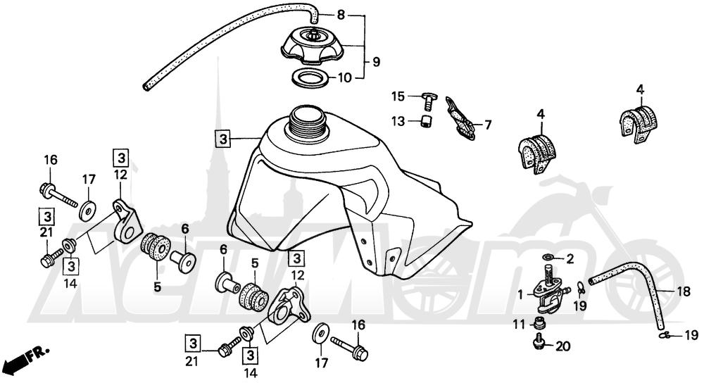 Запчасти для Мотоцикла Honda 1996 CR80RB Раздел: FUEL TANK | топливный бак