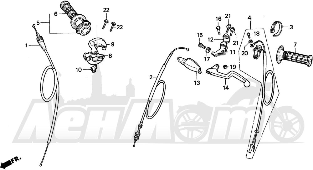 Запчасти для Мотоцикла Honda 1996 CR80RB Раздел: HANDLE AND SWITCHES AND CABLES | ручка и выключатели, переключатели и тросики, кабели