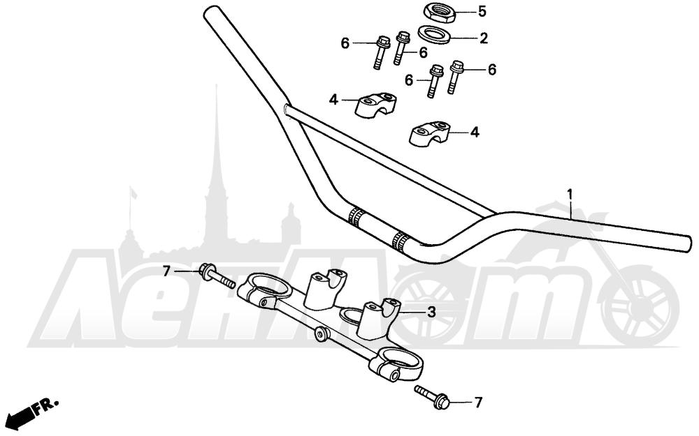 Запчасти для Мотоцикла Honda 1996 CR80RB Раздел: HANDLEBAR | руль