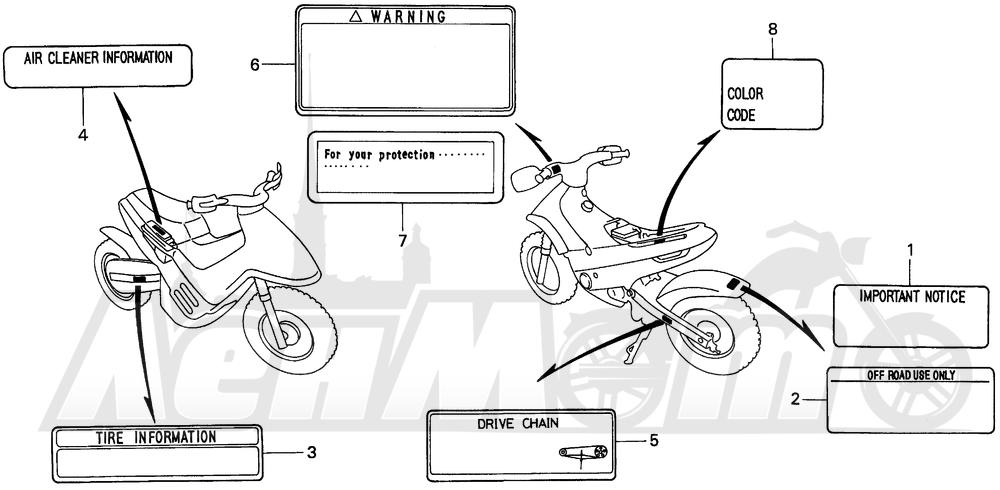 Запчасти для Мотоцикла Honda 1996 EZ90 Раздел: CAUTION LABEL | предупреждение этикетка, метка