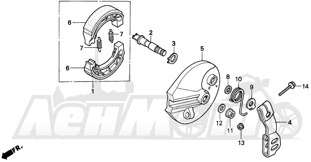 Запчасти для Мотоцикла Honda 1996 EZ90 Раздел: REAR BRAKE PANEL | задний тормоз панель