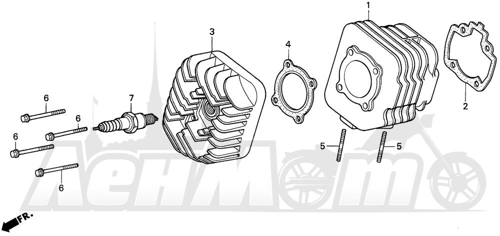 Запчасти для Мотоцикла Honda 1996 EZ90 Раздел: CYLINDER | цилиндр