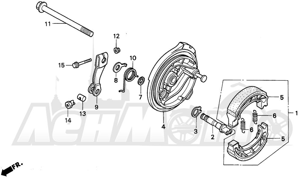 Запчасти для Мотоцикла Honda 1996 EZ90 Раздел: FRONT BRAKE PANEL   передний тормоз панель