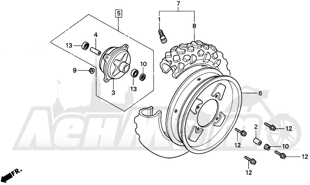 Запчасти для Мотоцикла Honda 1996 EZ90 Раздел: FRONT WHEEL | переднее колесо