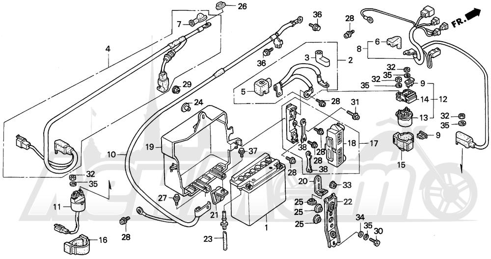 Запчасти для Мотоцикла Honda 1996 GL1500A Раздел: A / SE BATTERY | A/SE аккумулятор