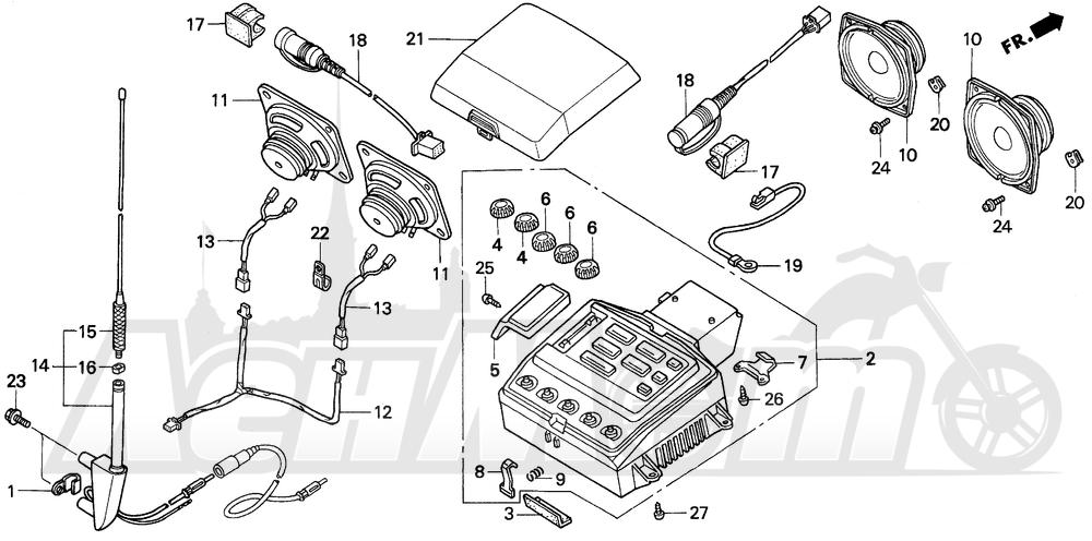 Запчасти для Мотоцикла Honda 1996 GL1500A Раздел: A / SE RADIO CASSETTE | A/SE RADIO CASSETTE