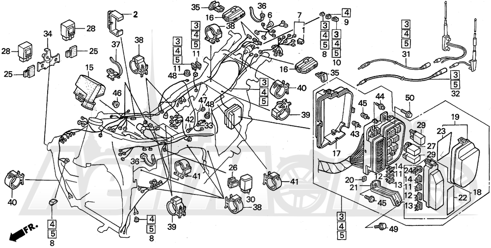 Запчасти для Мотоцикла Honda 1996 GL1500A Раздел: A / SE WIRE HARNESS | A/SE жгут проводов