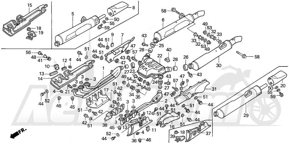 Запчасти для Мотоцикла Honda 1996 GL1500A Раздел: MUFFLER | глушитель