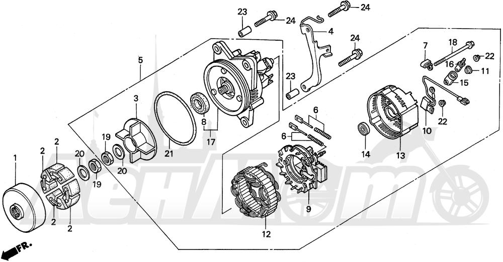 Запчасти для Мотоцикла Honda 1996 GL1500A Раздел: ALTERNATOR | генератор