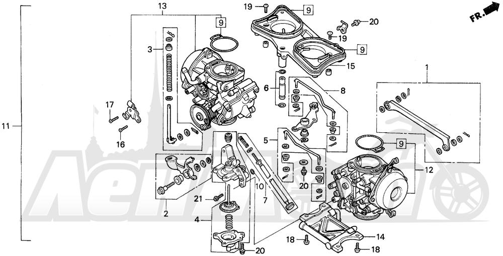 Запчасти для Мотоцикла Honda 1996 GL1500A Раздел: CARBURETOR ASSY.   карбюратор в сборе.