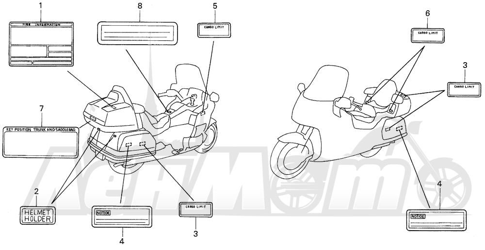 Запчасти для Мотоцикла Honda 1996 GL1500A Раздел: CAUTION LABEL (1) | предупреждение этикетка, метка (1)
