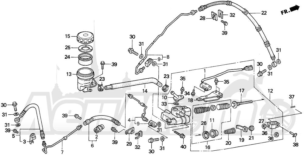 Запчасти для Мотоцикла Honda 1996 GL1500A Раздел: REAR BRAKE MASTER CYLINDER | задний тормоз главный цилиндр