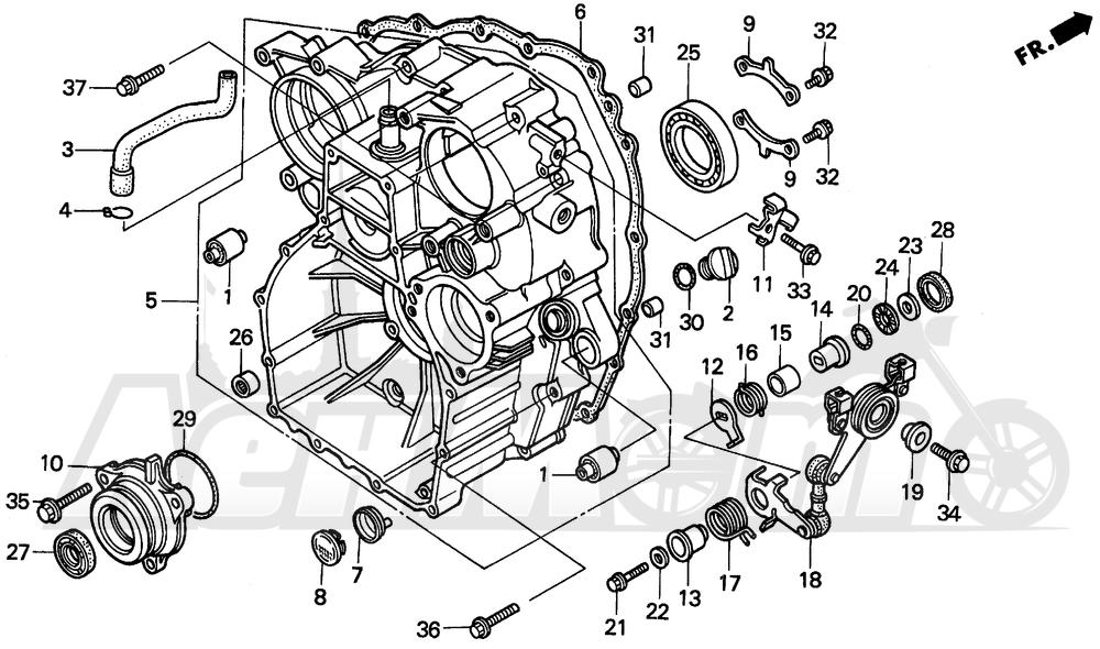 Запчасти для Мотоцикла Honda 1996 GL1500A Раздел: REAR CASE | зад корпус