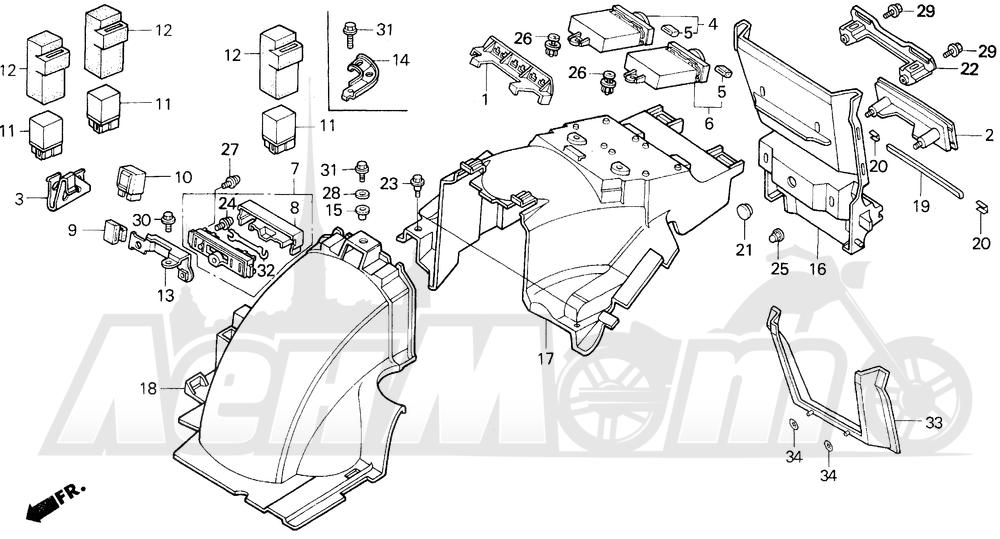 Запчасти для Мотоцикла Honda 1996 GL1500A Раздел: REAR FENDER | заднее крыло