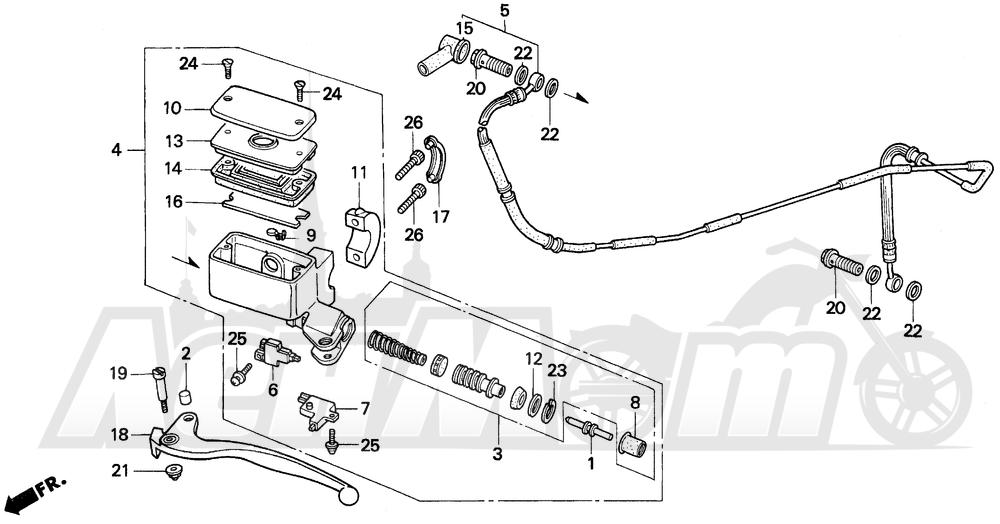 Запчасти для Мотоцикла Honda 1996 GL1500A Раздел: CLUTCH MASTER CYLINDER | сцепление главный цилиндр
