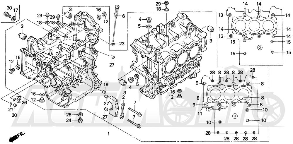 Запчасти для Мотоцикла Honda 1996 GL1500A Раздел: CYLINDER BLOCK | блок цилиндров