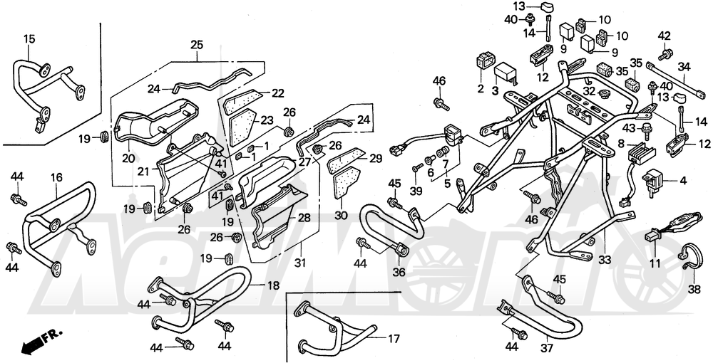 Запчасти для Мотоцикла Honda 1996 GL1500A Раздел: ENGINE GUARD | двигатель защита