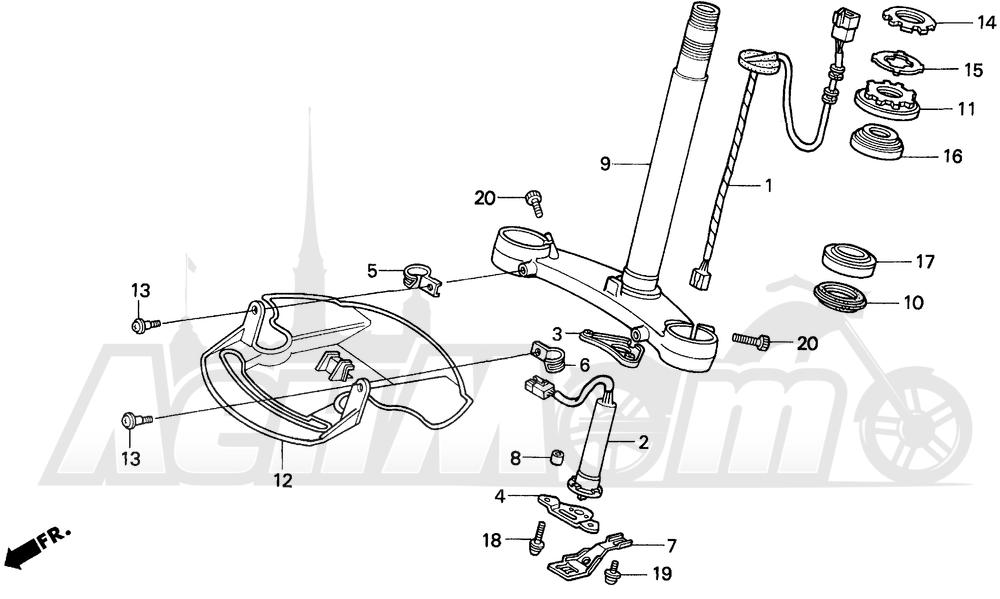 Запчасти для Мотоцикла Honda 1996 GL1500A Раздел: STEERING STEM | рулевое управление стойка