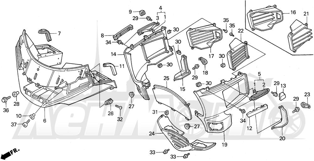 Запчасти для Мотоцикла Honda 1996 GL1500A Раздел: FAIRING   обтекатель