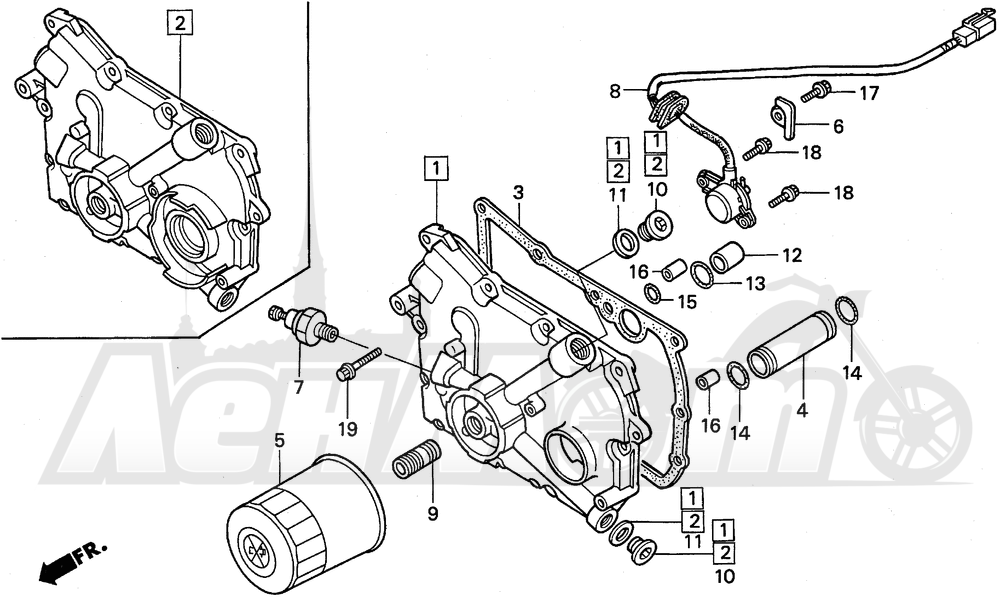 Запчасти для Мотоцикла Honda 1996 GL1500A Раздел: TRANSMISSION COVER   трансмиссия крышка