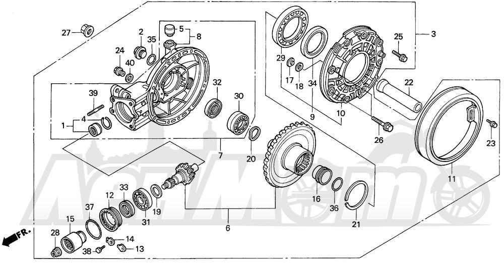 Запчасти для Мотоцикла Honda 1996 GL1500A Раздел: FINAL DRIVEN GEAR | FINAL ведомый шестерня