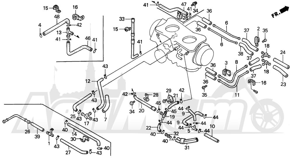 Запчасти для Мотоцикла Honda 1996 GL1500A Раздел: TUBING (1)   трубка (1)