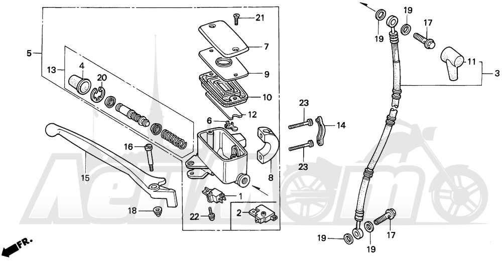 Запчасти для Мотоцикла Honda 1996 GL1500A Раздел: FRONT BRAKE MASTER CYLINDER | передний тормоз главный цилиндр