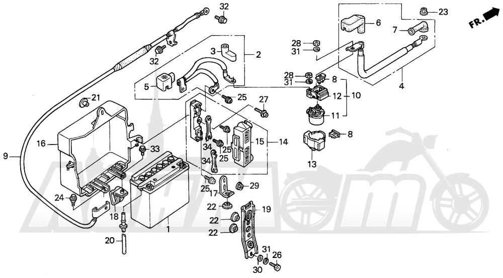 Запчасти для Мотоцикла Honda 1996 GL1500I Раздел: I BATTERY | I аккумулятор