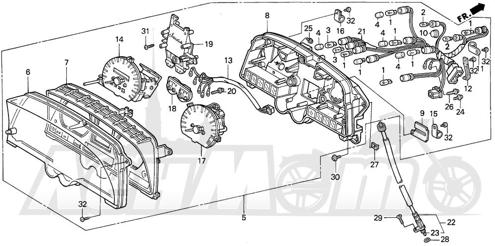Запчасти для Мотоцикла Honda 1996 GL1500I Раздел: I METER | I счетчик