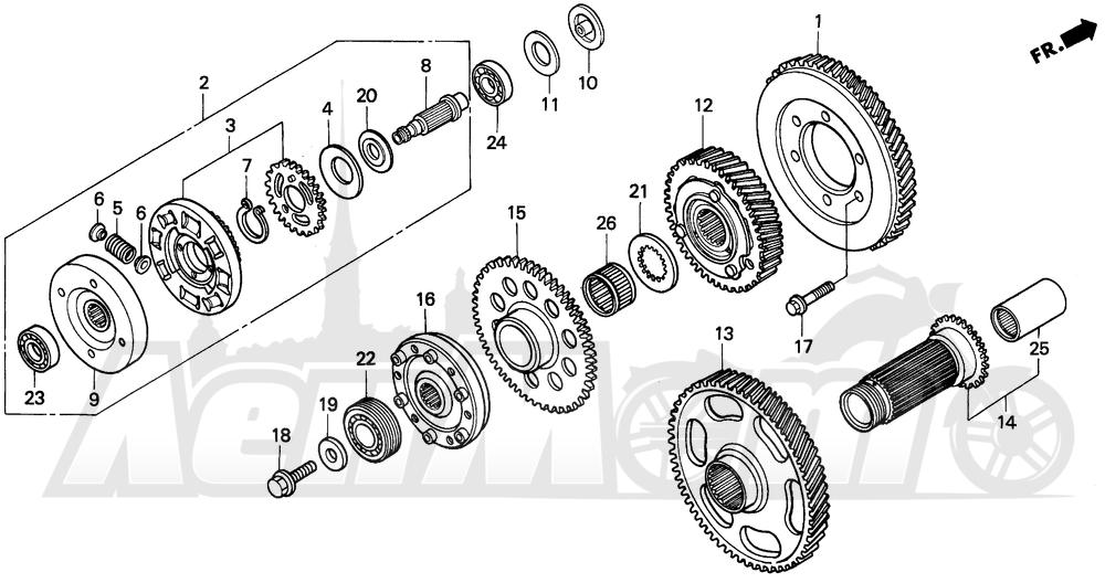 Запчасти для Мотоцикла Honda 1996 GL1500I Раздел: PRIMARY DRIVE GEAR | первичный привод шестерня