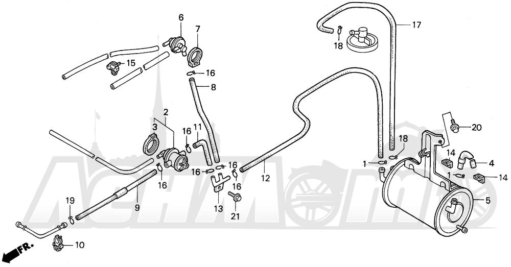 Запчасти для Мотоцикла Honda 1996 GL1500I Раздел: EVAP CANISTER (AC)   EVAP канистра (AC)