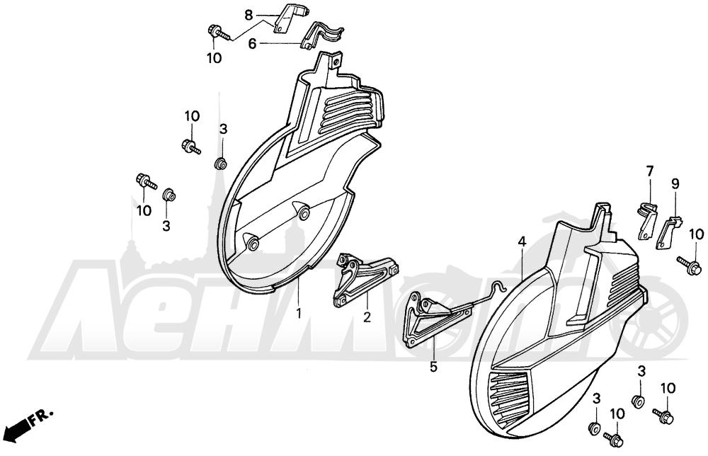 Запчасти для Мотоцикла Honda 1996 GL1500I Раздел: FRONT WHEEL COVER 96-97 | переднее колесо крышка 96 97