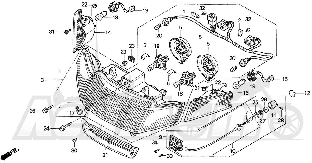 Запчасти для Мотоцикла Honda 1996 GL1500I Раздел: HEADLIGHT 96-97 | передняя фара 96 97