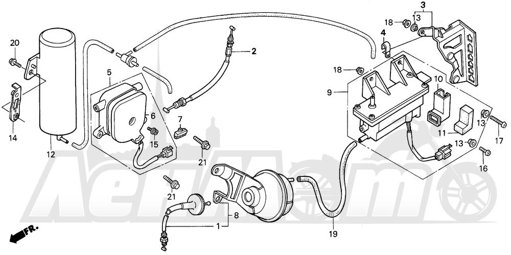 Запчасти для Мотоцикла Honda 1996 GL1500SE Раздел: A / SE CRUISE VALVE | A/SE CRUISE клапан