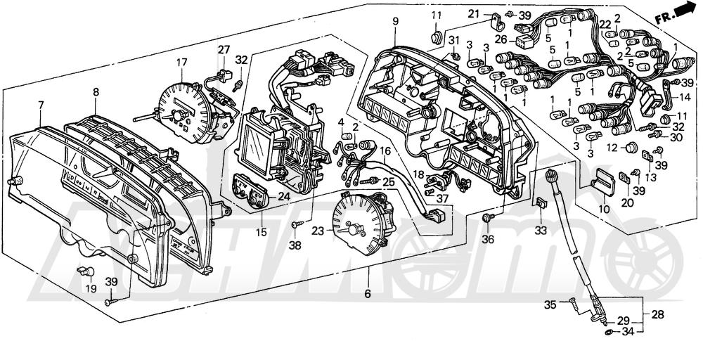 Запчасти для Мотоцикла Honda 1996 GL1500SE Раздел: A / SE METER | A/SE счетчик