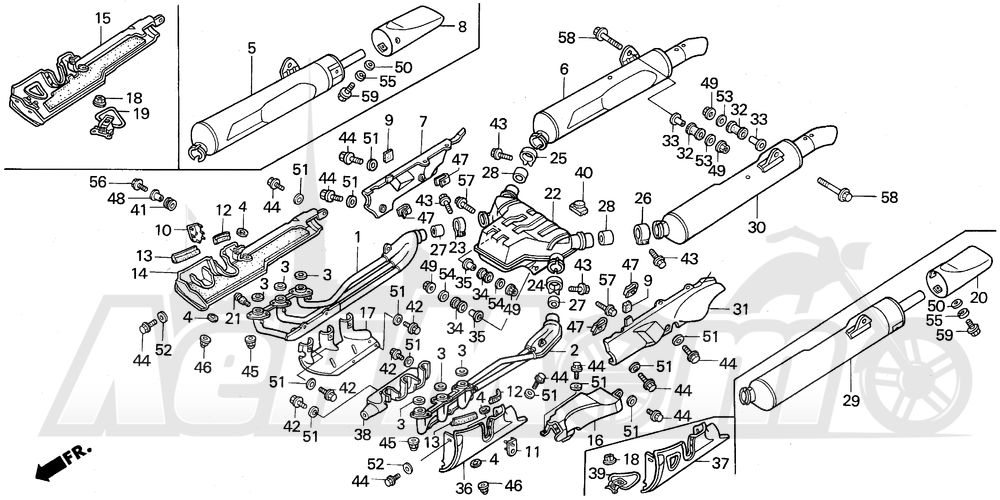 Запчасти для Мотоцикла Honda 1996 GL1500SE Раздел: MUFFLER   глушитель