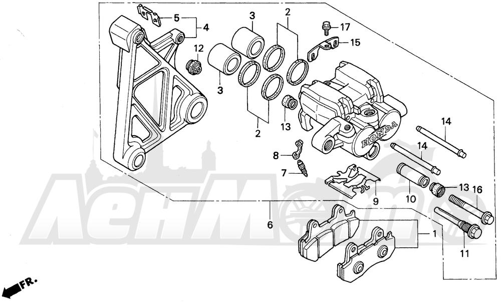 Запчасти для Мотоцикла Honda 1996 GL1500SE Раздел: REAR BRAKE CALIPER   задний тормоз суппорт